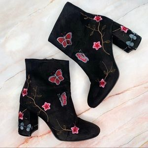 Nanette Lepore Black Embroidered Booties Boots 9